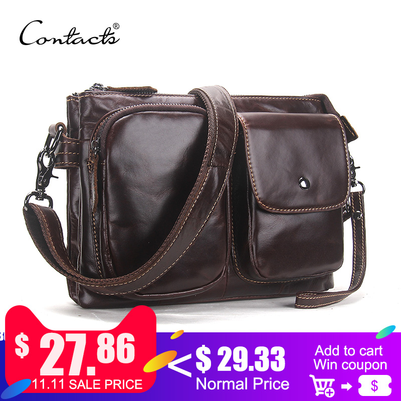 CONTACT'S Vintage Men Messenger Bags High Quality Soft Genuine Leather Large Capacity Travel Men Bags Dollar Price Handsome Man цена