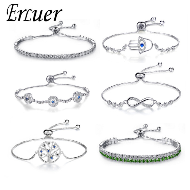 Adjustable Trendy Silver Plated Blue Crystal CZ Eyes Bracelets For Women Wedding fashion Jewelry Charming Bracelet & Bangles