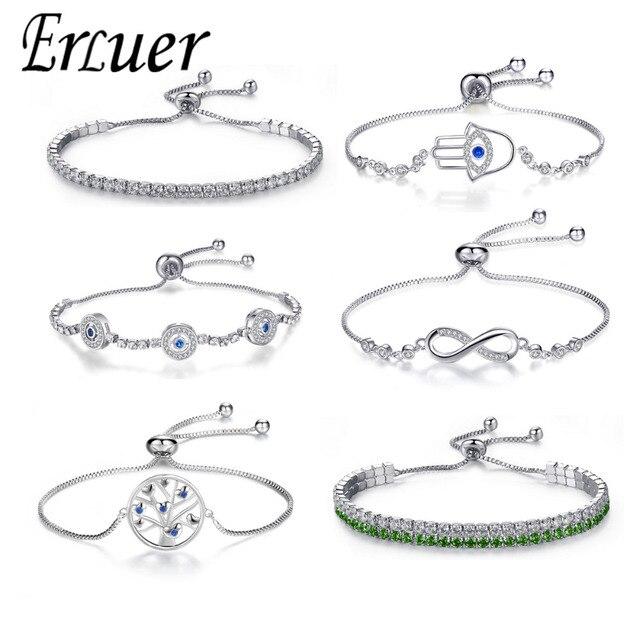 מתכוונן טרנדי כסף מצופה כחול קריסטל CZ עיניים צמידי עבור נשים חתונת תכשיטים מקסים צמיד & צמידים