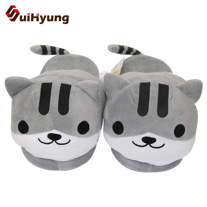 Suihyung New Women Home Slippers Winter Warm Indoor Shoes Funny Cat Prints Casual Bedroom Female Flats Plush Slippers Slip On