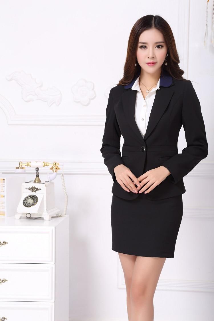Online Shop Formal Office Uniform Designs Women Skirt Suits Blazer