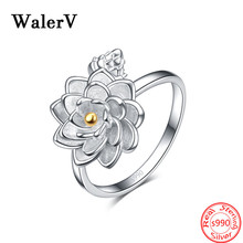 High Qualit 100% S990 Sterling Silver Fine Lotus Flower Finger Opening Ring for Women 925 Engagement Jewelry