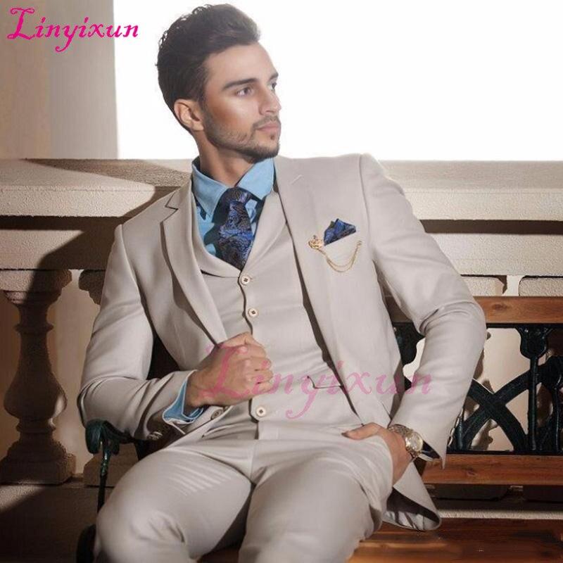 Linyixun Custom Made 2018 Ivory Cream Groom Tuxedos Italian Style Mens Wedding Prom Dinner Suits 3 Piece Slim Fit Formal Best