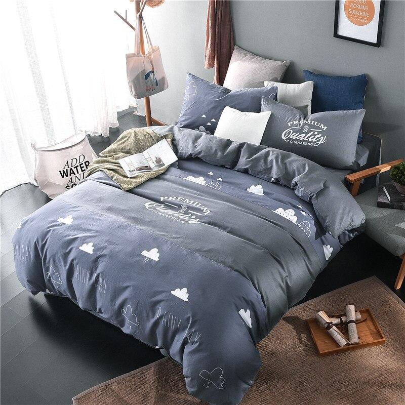 100 cotton bedlinens cloud queen king size 4pc bedding set duvet cover set flat sheet