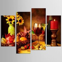 4 Panel Wall Art Fruit Grape Red Wine Glass Picture Art For Kitchen Bar Wall Decor