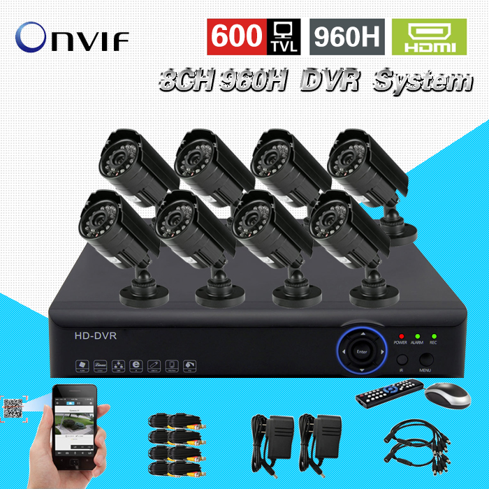 TEATE hybrid DVR recorder 8CH 960H real time recording H.264 CCTV 8ch 600TVL Color CMOS IR outdoor waterproof bullet camera new dvr 4 channel h 264 4ch full d1 real time recording support network mobile phone cctv dvr recorder 4ch security dvr