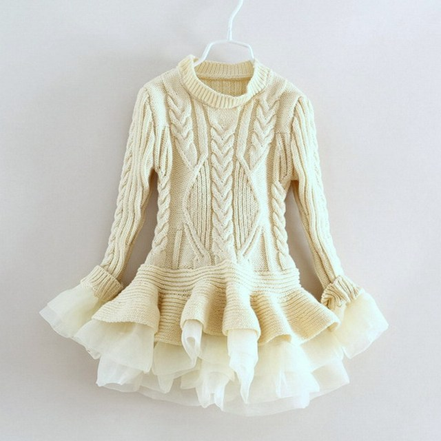 01dcf57dbe68 Kids Sweater dress Kids Clothing Girl Knitted Lace tulle Dress ...