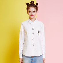 Veri Gude Women's White Blouse Causal Tops 100% Cotton Material High quality embroidery Ladies loose shirt office uniform shirt