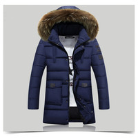 Cotton Clothes Thick Down Jacket Men 2017 Winter With Hood Detached Warm Waterproof Big Raccoon Fur