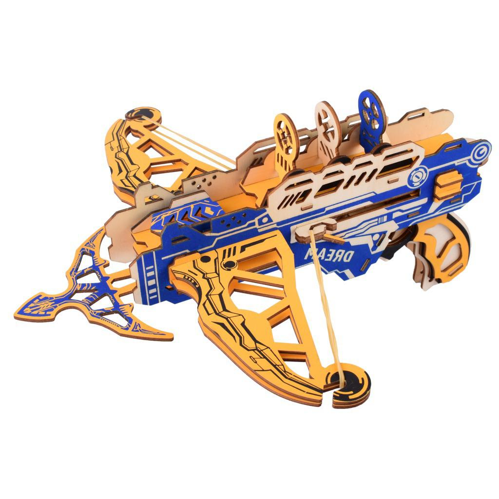 corte a laser diy 3d puzzle de madeira conjunto kit 3 correndo arma arco de gelo