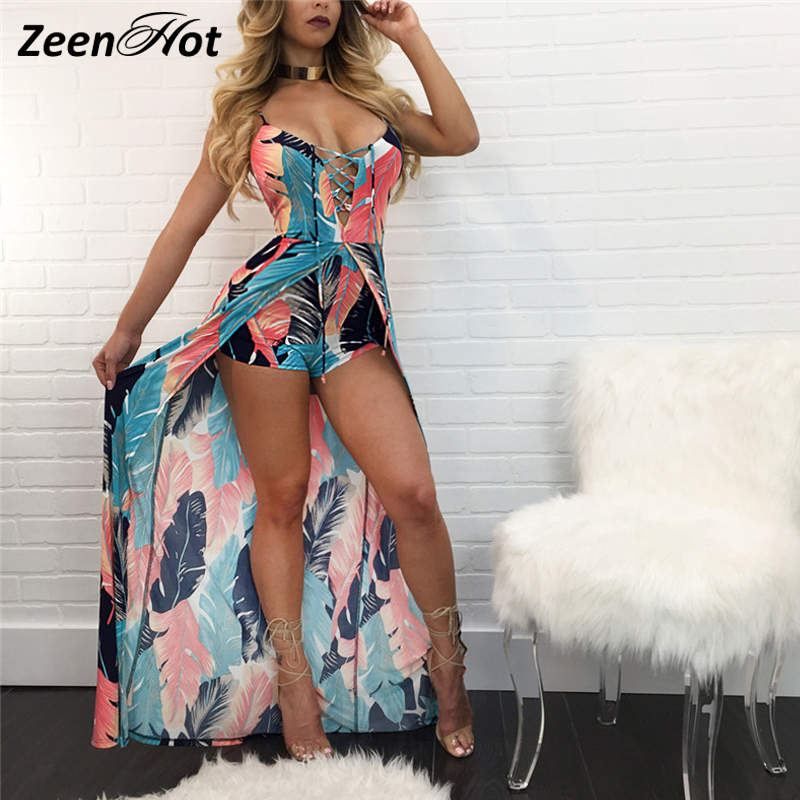 Women Printed Sexy Jumpsuit Women Romper Summer Casual Print Jumpsuits Deep V-neck sleeveless one piece outfits playsuit