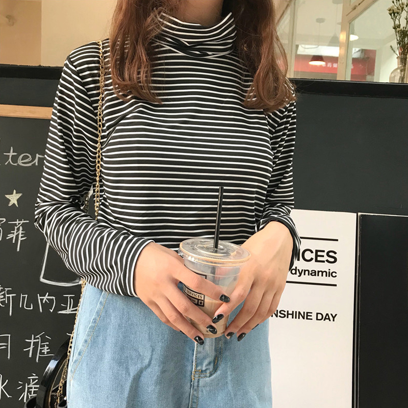 Fashion Turtle Neck Long Sleeves Women Tshirts New Women Striped Basic   T  -  shirt   Solid   T     shirts   for Women Casual Tees Tops Female