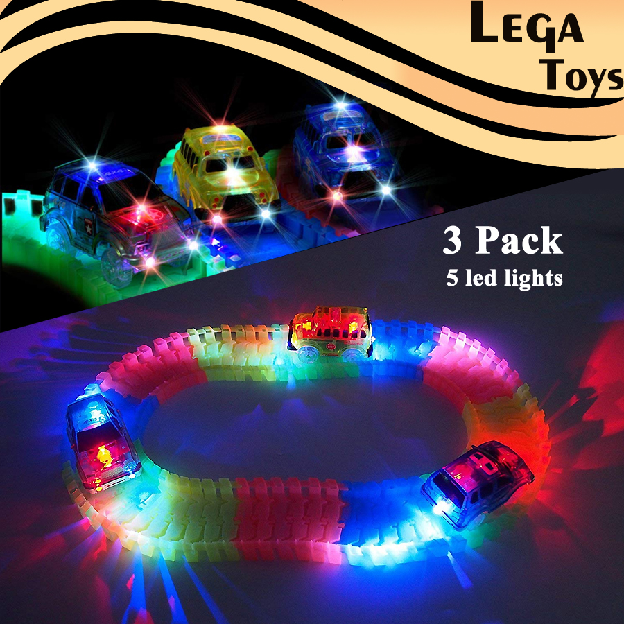 Electric Track Car Military Jeep,Blue Police,School Bus Car With 5 LED Lights,Compatible With Flexible Track Glow In The Dark