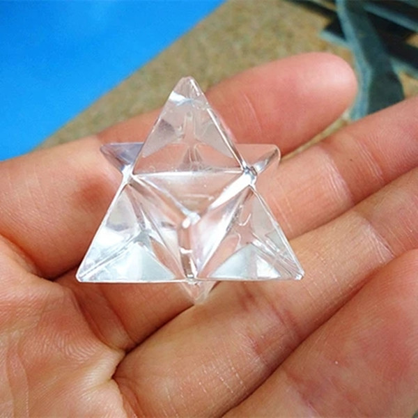 1PCS Natural White Quartz Crystal Stone Merkaba Pendant Necklace Healing Natural Stones And Minerals