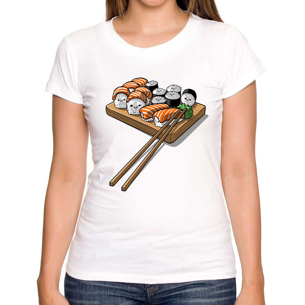 Nya Novelty Prined Sushi Design Kvinnor T-shirts 2018 Ny Mode Sommar Kort Ärm T-shirts Girls White T-Shirt Harajuku