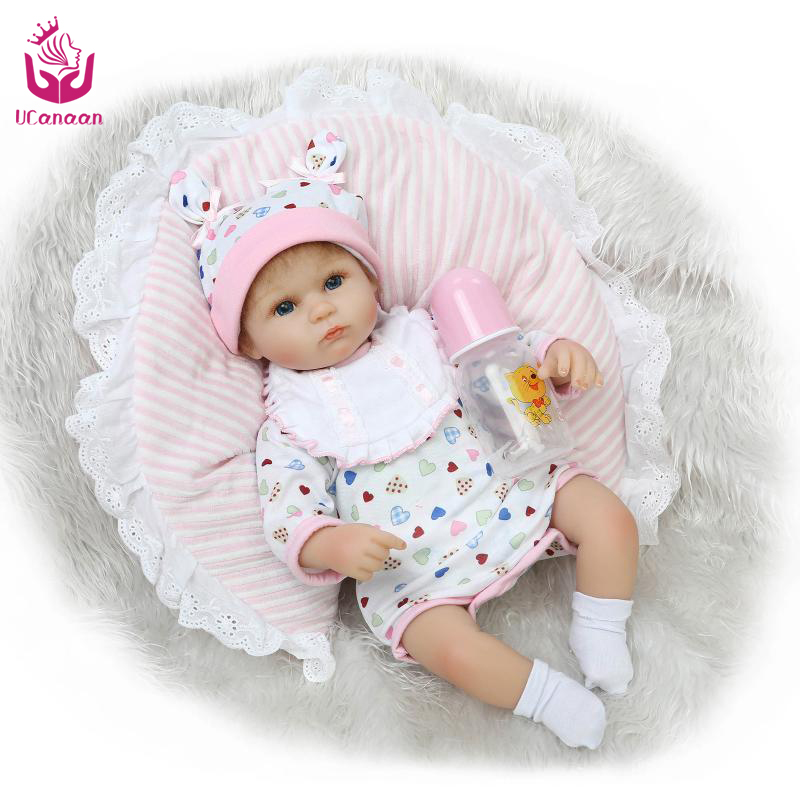 ФОТО ucanaan 18inch 40-45cm silicone reborn baby cloth body gifts for child christmas present open eyes toys three different style