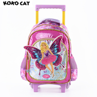 2017 Cartoon 3D Kids Children School Trolley Bag Elegant Angel Bags Girls Bookbag School Trolley Bag