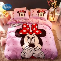 Disney Cartoon Warm Flannel and Cotton Minnie Mickey Mouse 3D Bedding Set Duvet Cover Pillowcases Flatsheet for Children Adults