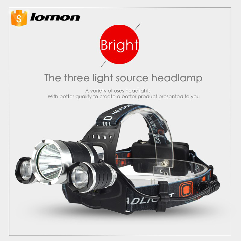 3 LED Lamp LED Headlamp White Red Light 3 Lights Source CREE XML T6 Headlight 2 X 18650 Battery +Charger Rechargeable Head Light sb331 cool skull head style 2 led red light keychain w sound effect white black 2 x ag10