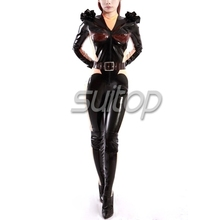 new design 100% nature latex catsuit Teddies Bodysuits for female rubber Black Suitop