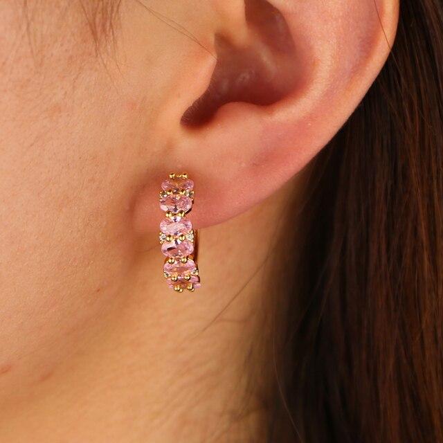 Серьги кольца huggie золото розовый овал куб цирконий классические