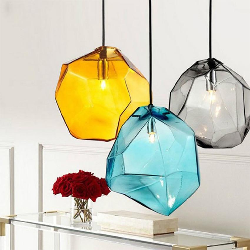 Modern colorful glass pendant light hanging lamp 6 colors G9 led suspension lamp for bar restaurant