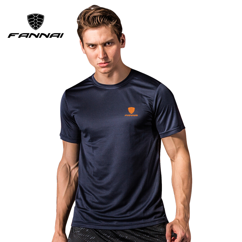 FANNAI T shirt men Sport Tops Tees Quick Dry Running Shirts men basketball Gym T-shirt Men's Custom sports short sleeve MMA esy outdoor sports men s quick drying short sleeves t shirt navy black size l