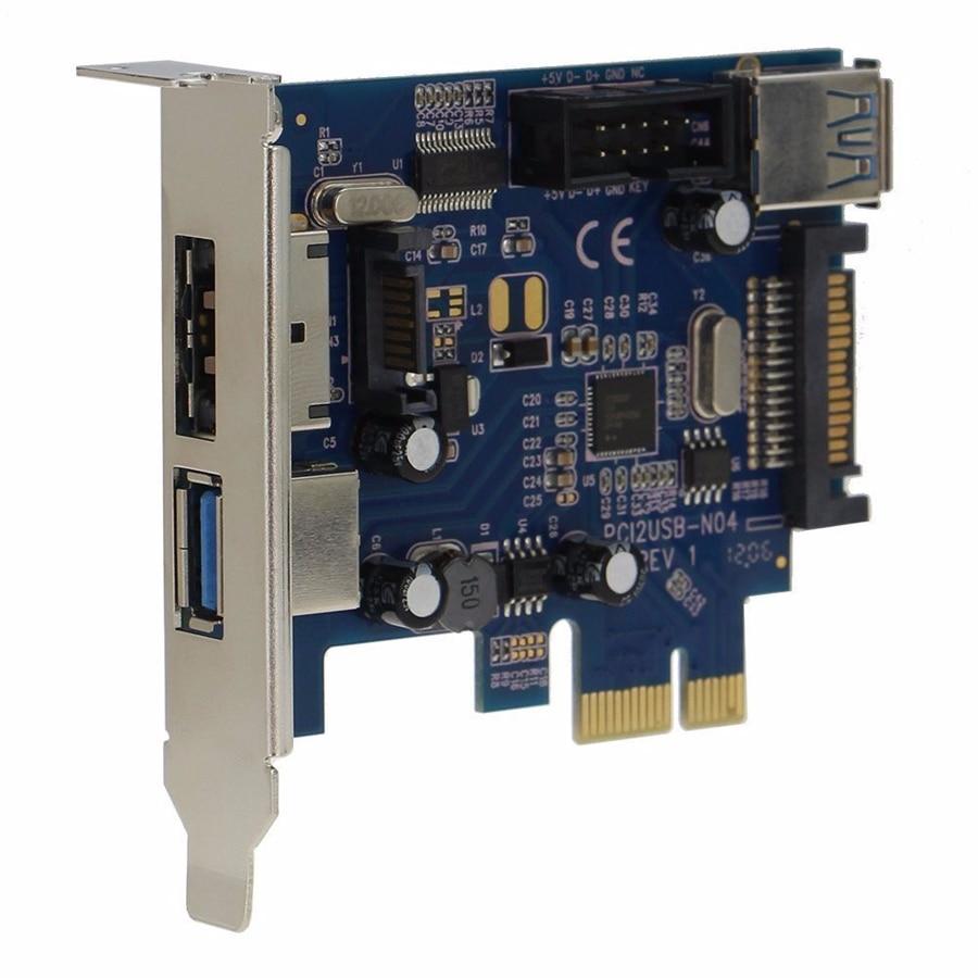 2x USB3.0 Мощность eSATA карта PCI-e 9pin USB порт eSATA PCI-e адаптер конвертер карта с жесткими дисками SATA Мощность гнездо PCIN0304