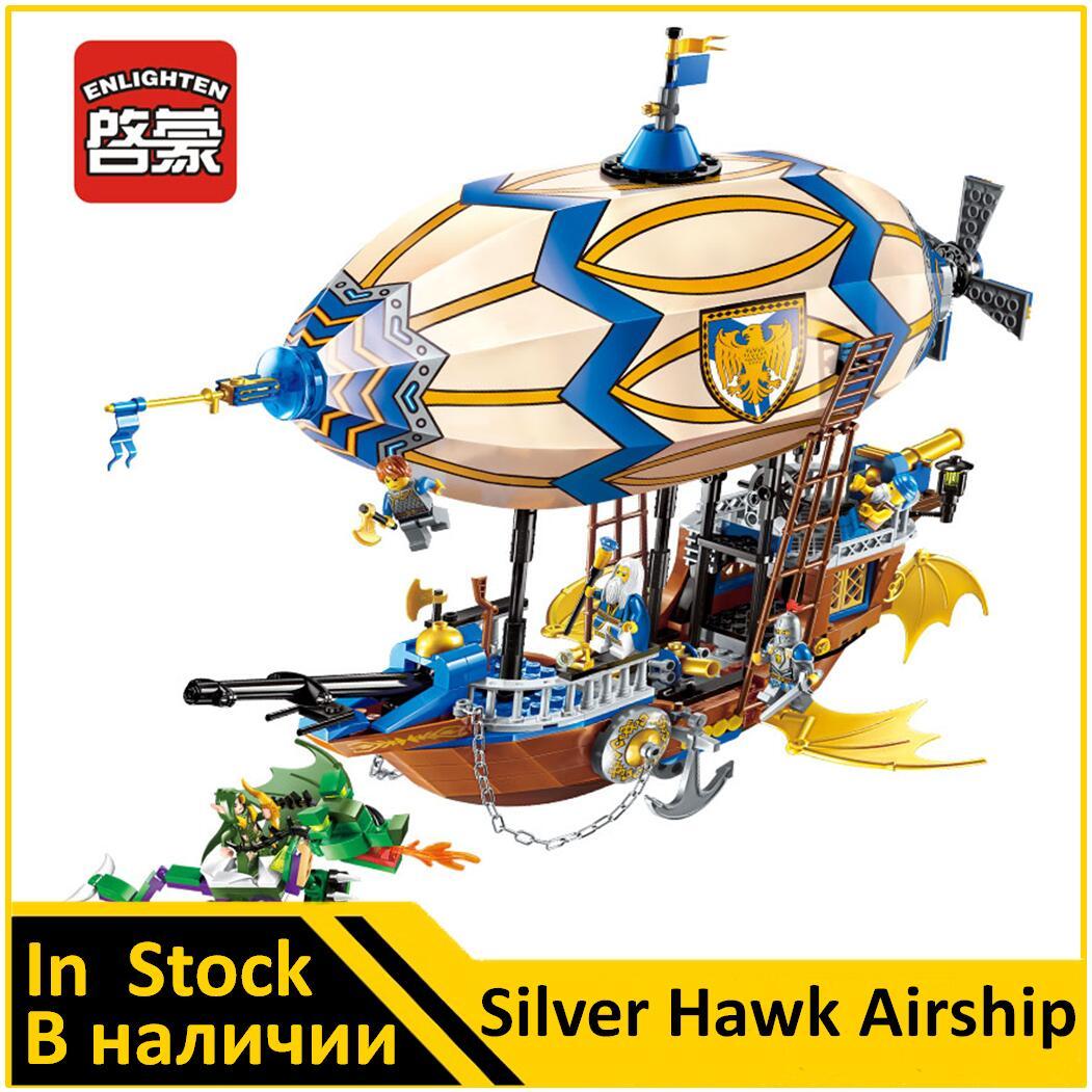 ENLIGHTEN 2316 Silver Hawk Airship VS Green Dragon Compatible Middle-earth Knight Building Block  Toys for BoysENLIGHTEN 2316 Silver Hawk Airship VS Green Dragon Compatible Middle-earth Knight Building Block  Toys for Boys