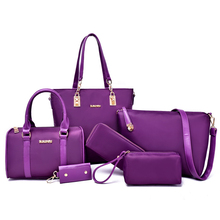 6 PCS/Set Women Handbag 2016 Famous Brand Composite Bag Solid Women Messenger Bags Shoulder bag Purse Wallet Nylon Handbags