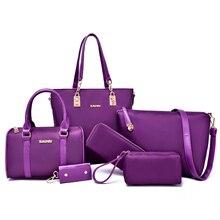 6 Unids/set Bolso Compuesto Sólido Bolso de Las Mujeres 2016 Marca de Fábrica Famosa Mujeres Messenger Bags bolsa de Hombro Monedero de La Cartera Bolsos de Nylon