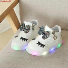 Сезон весна-осень; Светящиеся кроссовки для девочек; детская светящаяся обувь для мальчиков; модные светящиеся кроссовки на плоской подошве; размеры 21-30