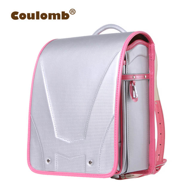 ce0ef3046d87 Coulomb Children Silver Future Backpack For School Bags Girl Orthopedic  Randoseru Backpacks PU Hasp Solid Book