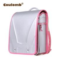 Coulomb Children Silver Future Backpack For School Bags Girl Orthopedic Randoseru Backpacks PU Hasp Solid Book Bags 2017 New