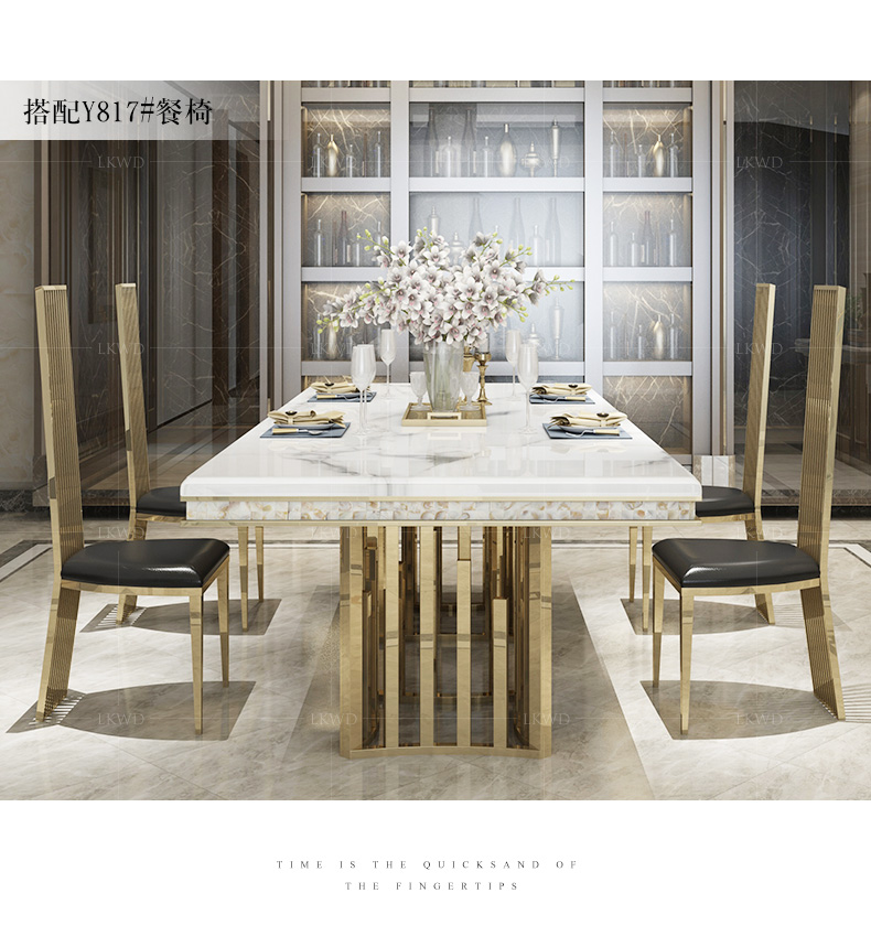 Rama Dymasty Stainless Steel Dining Room Set Home Furniture Modern Marble Dining Table And 8 Chairs Rectangle Table Dining Tables Aliexpress
