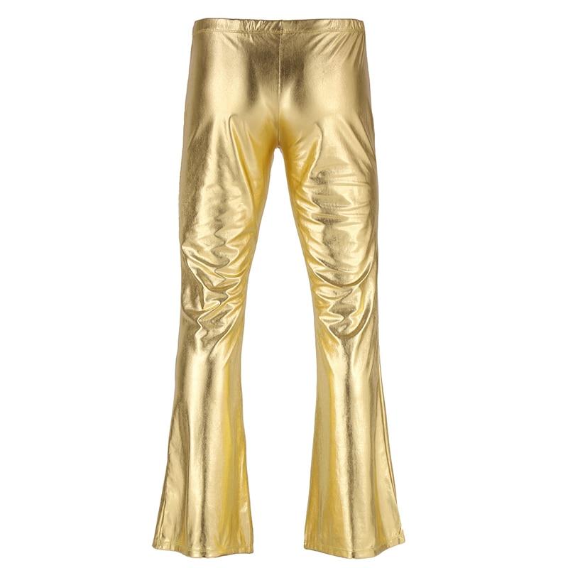 YiZYiF Men Shiny Metallic Disco Pants Bell Bottom Flared Long Pants Dude Costume Trousers Men's Flare Pants Flared Bell Pants 4