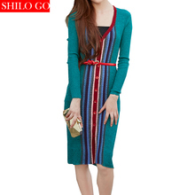 Free shipping 2016 new autumn fashion women high quality V-neck vertical stripe button knit cardigan long section dress & green