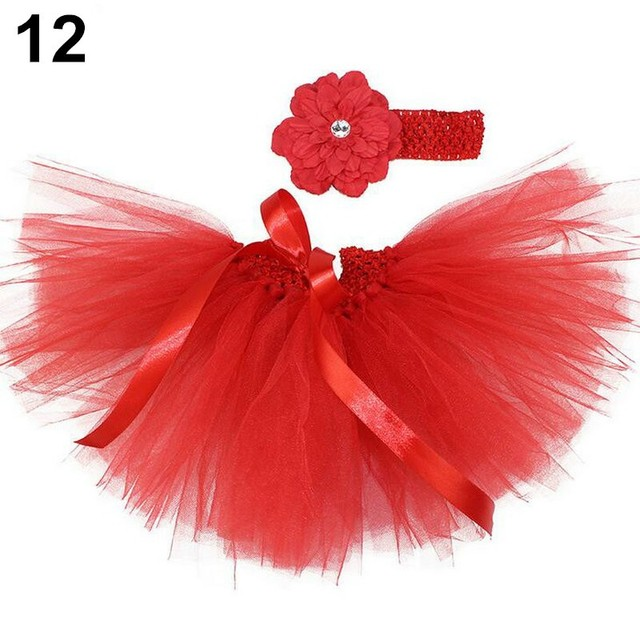 Baby TUTU Skirt Layers Faldas Newborn Tutu Skirts Infants Girl Newborn Photography Props Ribbon Bow Skirt + Flower Headband