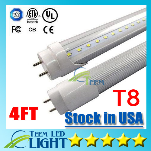 Stock in USA + CE RoHS UL + 4ft 22W T8 Led Tube Light 2400lm 85-265V Led lighting Fluorescent Tube Lamp 1.2m LED tubes