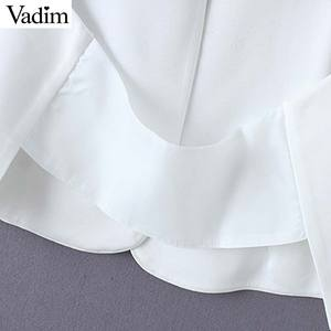 Image 5 - Vadim women elegant black white V neck coat pockets office wear solid outerwear female casual chic open stitch tops CA347