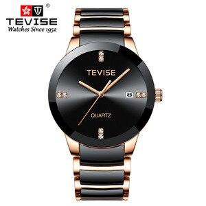 Image 2 - TEVISE Man Watch 2019 Luxury Brand Quartz Wristwatch Mens Ceramic Casual Personality Male Clock erkek kol saati T845GS