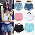 2017 Summer Style Women's Vintage High Waist Jeans fashion women hole regular solid color denim shorts good quality,s-xl