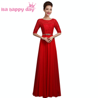 hot sale simple and elegant a line for bride made dresses bridesmaids burgundy bridemaid chiffon dress sleeves long B3423