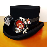 Steampunk Top Hat Cap goggle Props Magic Hat Gothic Retro Rock Halloween Cosplay Masquerade Party high class Christmas Gift