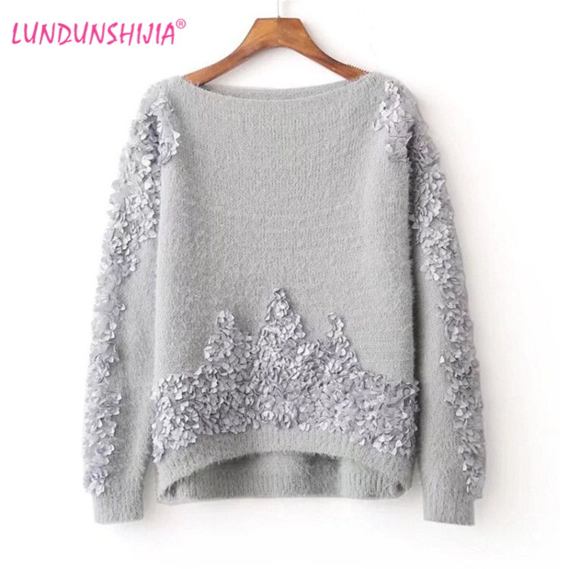 LUNDUNSHIJIA 2017 Autumn Winter Imitation Mink Cashmere Sweater Women Loose Knitted  Pullover Gray White Sweater For eb7897410060