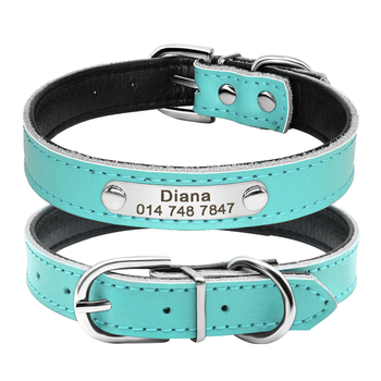 Genuine Leather Dog Collar Inner Padded Custom Personalized Dog Collars with Engraved Nameplate ID Tag For Small Medium Dogs 1
