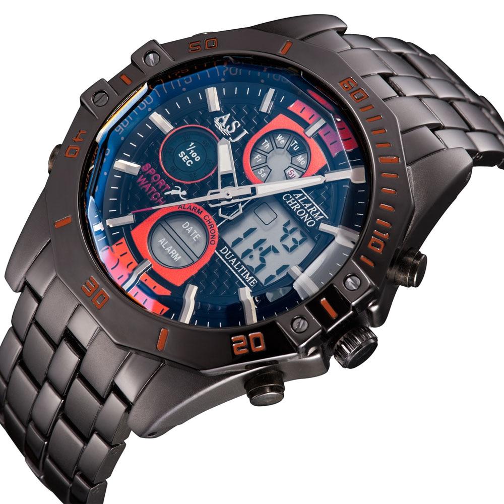 2016 Fashion ASJ 50M Waterproof Men Sport LED Analog Digital Multi-Function Auto Date Electronic Quartz Steel Band Wrist Watches