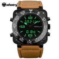 INFANTRY Relogio Masculino Mens Watches Top Brand Luxury Military Sport Luminous Wristwatch Chronograph Square Face Quartz