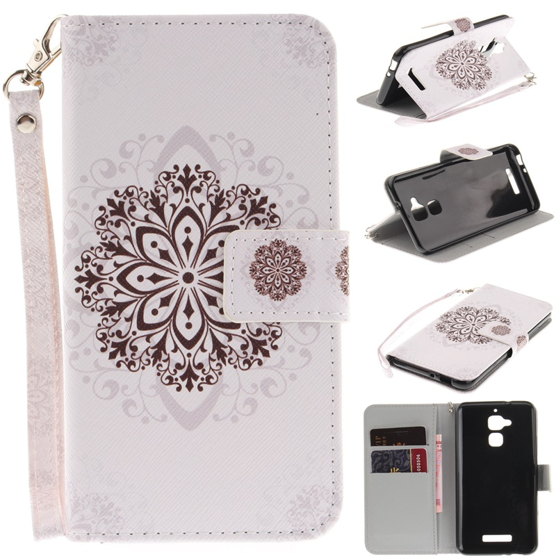 For ASUS Zenfone 3 Max ZC520TL Flip Case PU Leather Wallet Cases ZC520TL Stand Cover Panda Owl Flower Pattern + Strap