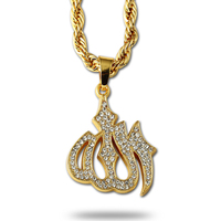 Hip Hop Iced Out Gold Tone Rhinestone Allah Rope Chain Necklace 24k Gold Plated Mens Fashion